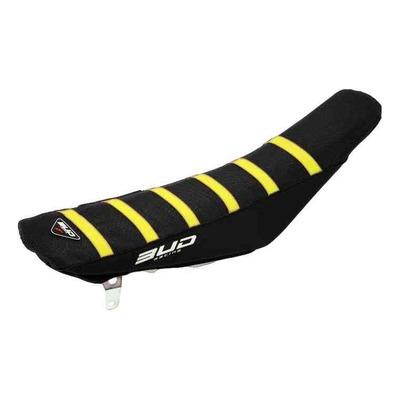 Housse de selle noire/bandes jaune Bud Racing Full Traction pour Husqvarna TC 85 18-22