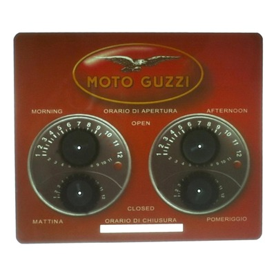 Indicateur d'ouverture magasin Moto Guzzi rouge