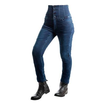 Jean moto femme Overlap Evy dark bleu Taille très haute
