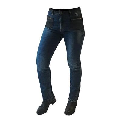 Jean moto femme Overlap Kara bleu/noir wash