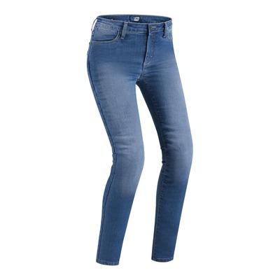 Jeans moto femme PMJ Skinny bleu clair