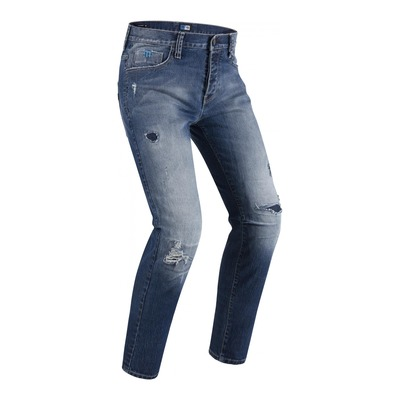 Jeans moto PMJ Street destroye stone washed bleu