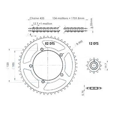 Kit chaîne Teknix renforcé 12x52 420 X-Limit DT SM 03-04