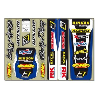 Kit déco garde-boue / bras oscillant Blackbird Racing bleu