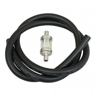 Kit durite d'essence 8x12 noir 1m avec filtre à essence cylindrique Ø8