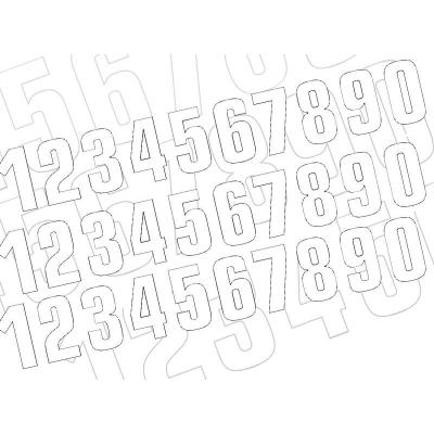 Kit numéro de course Blackbird de 0 à 9 blanc 16 x 7,5 cm