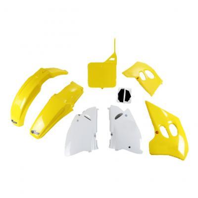 Kit plastiques UFO Suzuki 125 RM 1993 jaune/blanc (couleur OEM)