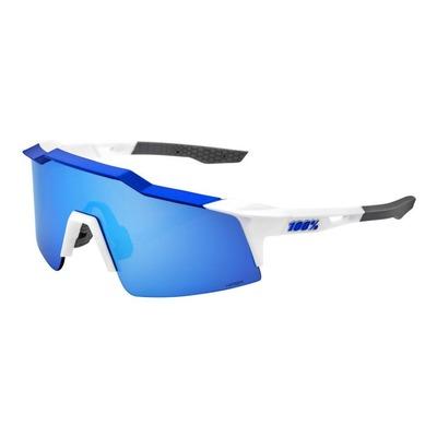 Lunettes de soleil 100% Speedcraft SL blanches et bleues écran miroir bleu HiPER
