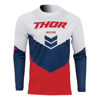 Maillot cross enfant Thor Sector Chev rouge/navy/blanc