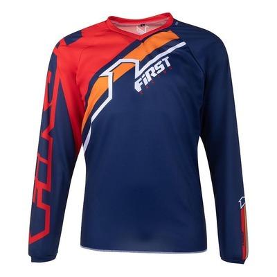 Maillot cross First Racing Stripes bleu marine/rouge/orange