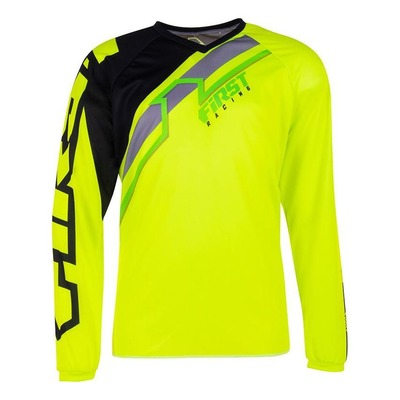 Maillot cross First Racing Stripes jaune fluo/noir/vert