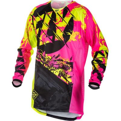 Maillot cross Fly Racing Kinetic Outlaw rose/jaune fluo