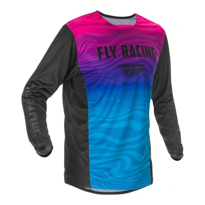 Maillot cross Fly Racing Kinetic S.E. noir/rose/bleu