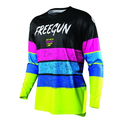 Maillot cross Freegun Devo Stripe jaune fluo/bleu/rose