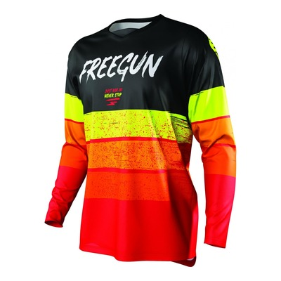 Maillot cross Freegun Devo Stripe rouge/jaune fluo