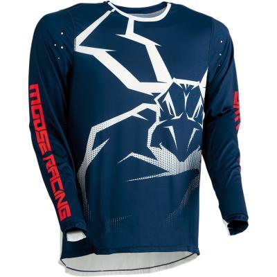 Maillot cross Moose Racing Agroid bleu marine/blanc