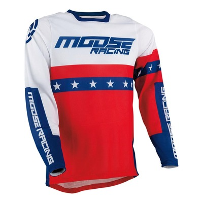 Maillot cross Moose Racing Sahara rouge/blanc/bleu