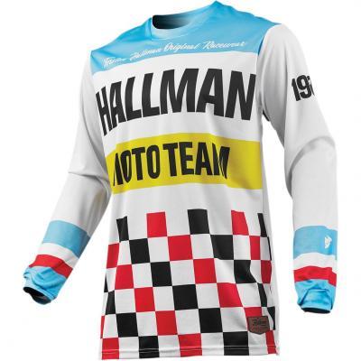 Maillot cross Thor Hallman Pulse Heater blanc/bleu