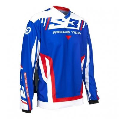 Maillot de trial S3 Racing Team Patriot bleu/blanc/rouge