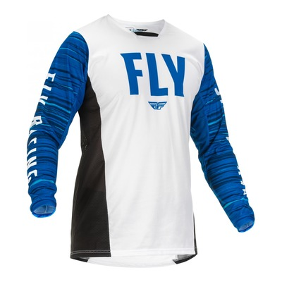 Maillot Fly Racing Kinetic Wave blanc/bleu