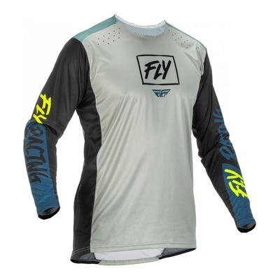 Maillot Fly Racing Lite gris/teal/jaune fluo