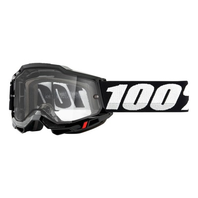 Masque cross 100% Accuri 2 Enduro Black double écran incolore