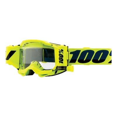 Masque cross 100% Accuri 2 Forecast jaune fluo écran incolore