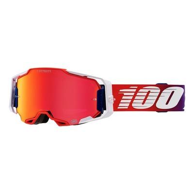 Masque cross 100% Armega Factory blanc/rouge/bleu écran iridium argent