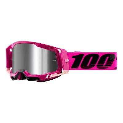 Masque cross 100% Racecraft 2 Maho rose écran iridium argent flash