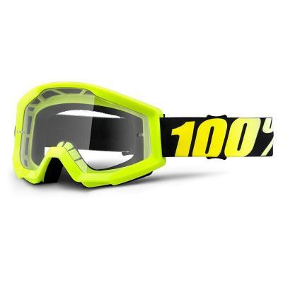 Masque cross 100% STRATA NEON clear lens jaune