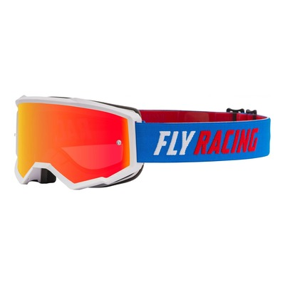 Masque cross Fly Racing Zone bleu/blanc/rouge écran iridium rouge