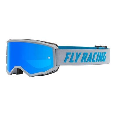 Masque cross Fly Racing Zone gris/bleu écran iridium bleu clair
