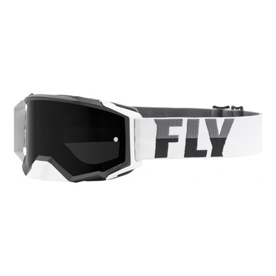 Masque cross Fly Racing Zone Pro blanc/noir écran fumé foncé