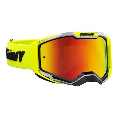 Masque cross Kenny Ventury phase 2 argent/jaune fluo écran iridium