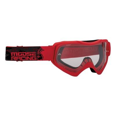Masque cross Moose Racing Qualifier Agroid rouge/noir – écran clair