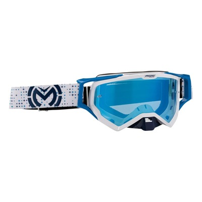 Masque cross Moose Racing XCR Pro Star blanc/bleu – écran bleu