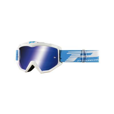 Masque cross Progrip 3201 FL Atzaki blanc écran miroir bleu