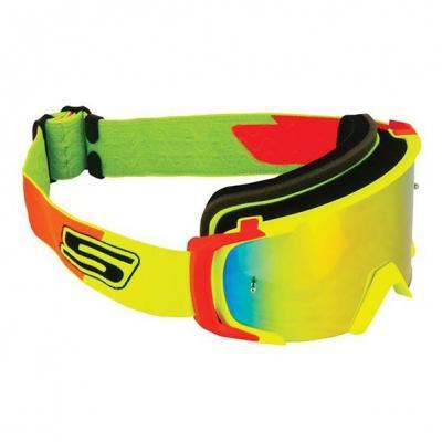 Masque cross S-Line Scrub jaune/rouge bandeau jaune/rouge écran iridium rouge