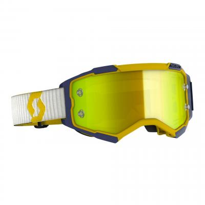 Masque cross Scott Fury jaune bleu- écran chrome jaune