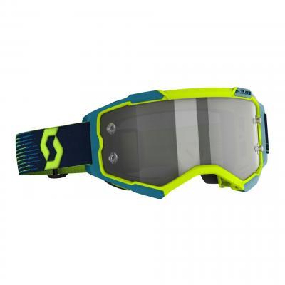 Masque cross Scott Fury LS jaune fluo/bleu- écran Light Sensitive gris argent