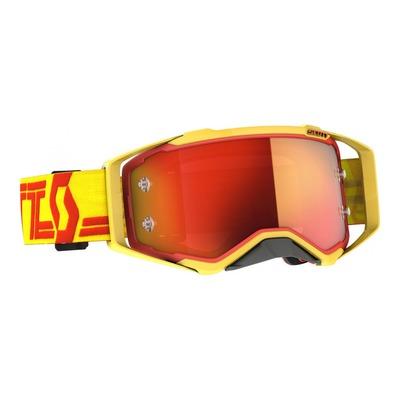Masque cross Scott Prospect jaune/rouge – écran Works chrome orange