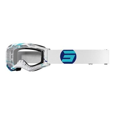 Masque cross Shot Assault 2.0 Focus bleu/blanc brillant- écran transparent