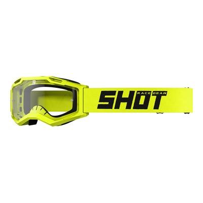 Masque cross Shot Assault 2.0 Solid jaune fluo brillant- écran transparent