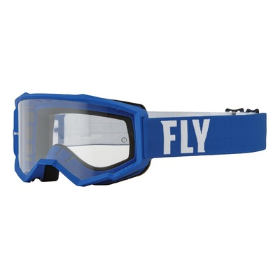 Masque enfant Fly Racing Focus bleu/blanc- écran transparent