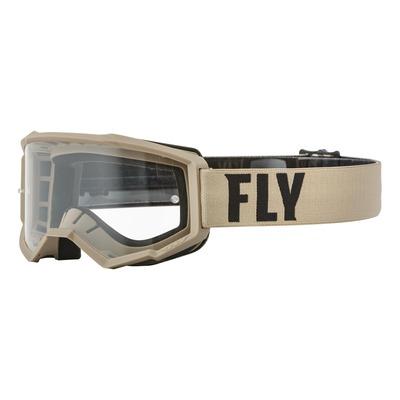 Masque enfant Fly Racing Focus kaki/brun- écran transparent