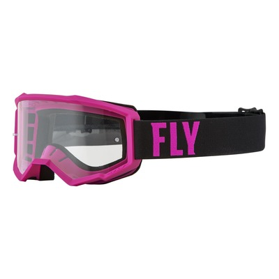 Masque enfant Fly Racing Focus rose/noir- écran transparent