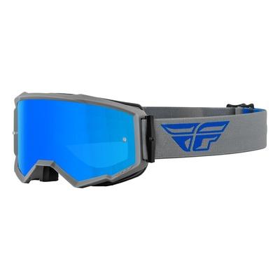 Masque Fly Racing Zone gris/bleu- écran iridium bleu/fumé