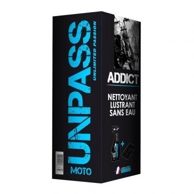 Nettoyant moto Unpass Addict 750 ml avec microfibres