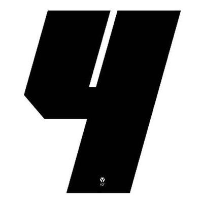 Numéro 4 YCF hauteur 11 cm noir (3 pièces)