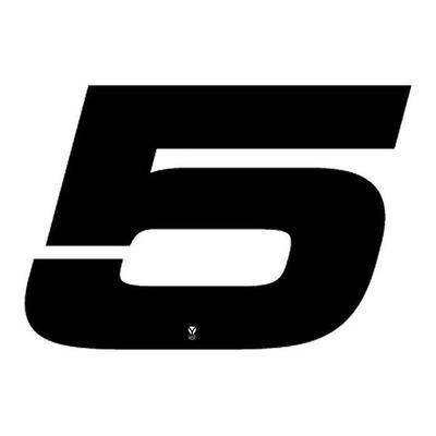Numéro 5 YCF hauteur 18 cm noir (3 pièces)